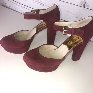 Michael Kors Suade Burgundy Strap Heels size 10